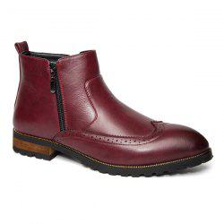 Engraving Point Toe Zipper Side Boots - RED