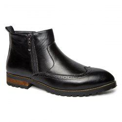 Engraving Point Toe Zipper Side Boots - BLACK 42
