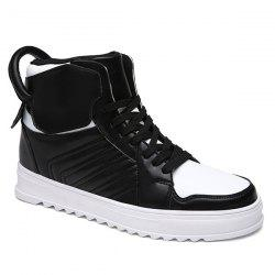 Lace Up High Top Leather Casual Shoes -