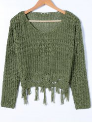 Tassels Ripped Scoop Neck Knitwear - DEEP GREEN