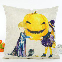 Home Decor Halloween Witch Pumpkin Cartoon Cushion Pillow Case - BEIGE