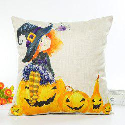 Halloween Witch Pumpkin Design Cartoon Cushion Pillow Case