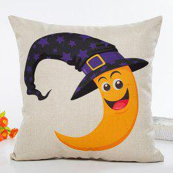 Halloween Moon Witch Hat Pattern Sofa Cushion Pillow Case -