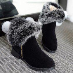 Zipper Suede Faux Fur Short Boots