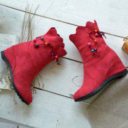 Hidden Wedge Scalloped Edge Boots