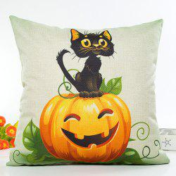 Halloween Cat Pumpkin Design Flax Cushion Pillow Case -