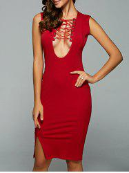 Lace Up Criss-Cross Bodycon Dress -