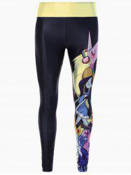 Skinny Cartoon Adventure Time Print Gym Leggings - BLACK