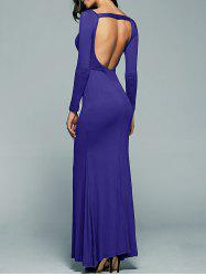 Open Back Maxi Long Sleeves Bodycon Prom Evening Dress