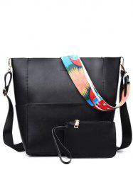 PU Leather Print Strap Stitching Crossbody Bag