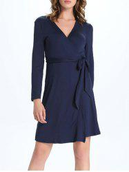Long Sleeves V-Neck Bowknot Wrap Dress