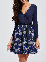 Long Sleeves Surplice Floral Tied Dress -
