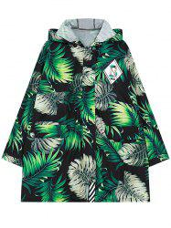 Hooded Long Sleeve Leaf Print Coat -