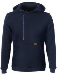 Side Zip Up Pocket Front Long Sleeve Hoodie - CADETBLUE