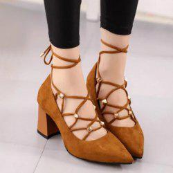 Tie Up Cross Straps Rivets Pumps