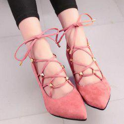Tie Up Cross Straps Rivets Pumps - WATERMELON RED