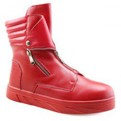 Snap Double Zipper Stitching Casual Shoes - RED