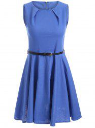 Sleeveless Solid Color Flare Dress -