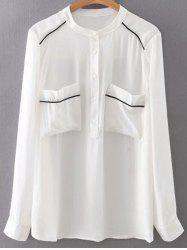 Stand Neck Long Sleeve Double Pockets Chiffon Shirt -