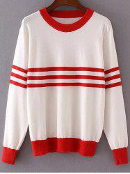 Round Neck Long Sleeve Striped Color Block Sweater -