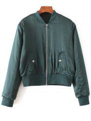 Long Sleeve Zip-Up Satin Bomber Jacket -
