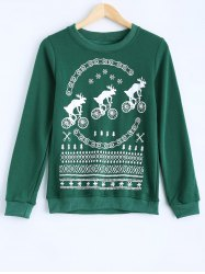 Milu Printed Round Collar Fleece Warm Sweatshirt - GREEN
