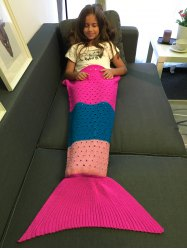 Super Soft Color Block Crochet Knitting Mermaid Tail Blanket For Kids - COLORMIX