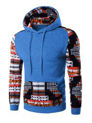 Patchwork Design Geometric Print Light Blue Hoodie men