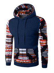 Patchwork Design Geometric Print Hoodie - CADETBLUE