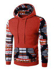 Patchwork Design Geometric Print Hoodie - RED