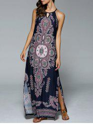 Bohemian Side Slit Tribal Cut Out Maxi Dress - PURPLISH BLUE
