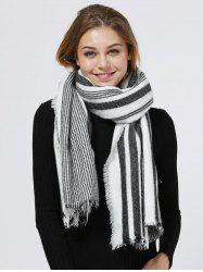 Vertical Stripes Pattern Fringed Shawl Scarf