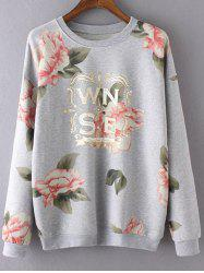 Round Neck Long Sleeve Floral Print Casual Sweatshirt