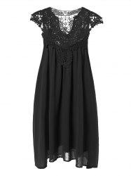 Plus Size Crochet Panel Short Formal Shift Dress - BLACK