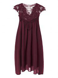 Plus Size Crochet Panel Short Formal Shift Dress - CLARET