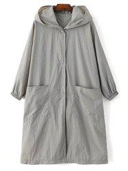 Longue Imprimer manches Lettre Hooded Trench Coat vrac -