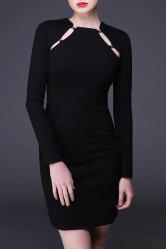 Hollow Out Mini Long Sleeve Tight Dress -