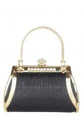 Metal Rhinestone Evening Bag - BLACK