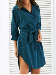Puff Sleeves Arc Hem Tied Shirt Tunic Dress