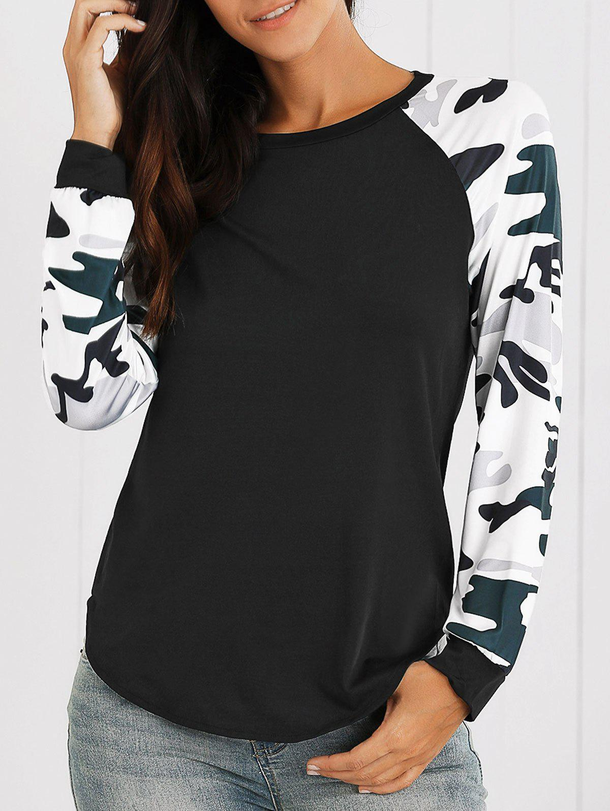 Raglan Sleeves Camo Print Asymmetric T-ShirtWOMEN<br><br>Size: S; Color: BLACK; Material: Polyester; Sleeve Length: Full; Collar: Round Neck; Style: Casual; Pattern Type: Others; Season: Fall,Spring; Weight: 0.1800kg; Package Contents: 1 x T-Shirt;