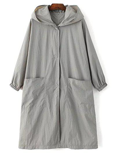 Longue Imprimer manches Lettre Hooded Trench Coat vrac