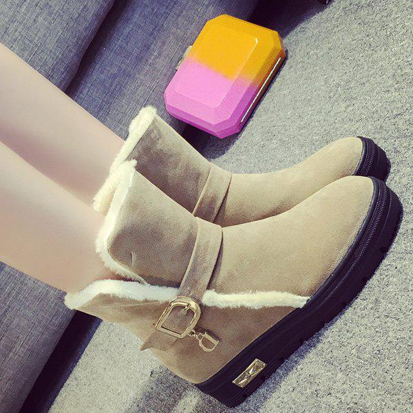 Trendy Belt Buckle Round Toe Snow Boots