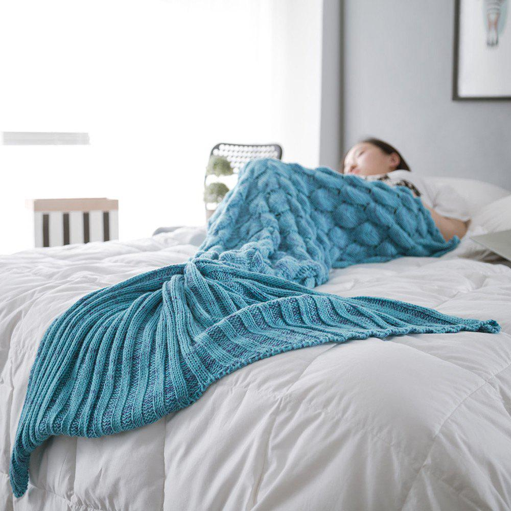 Chic Fish Scale Yarn Knitted Sleeping Bag Mermaid Blanket