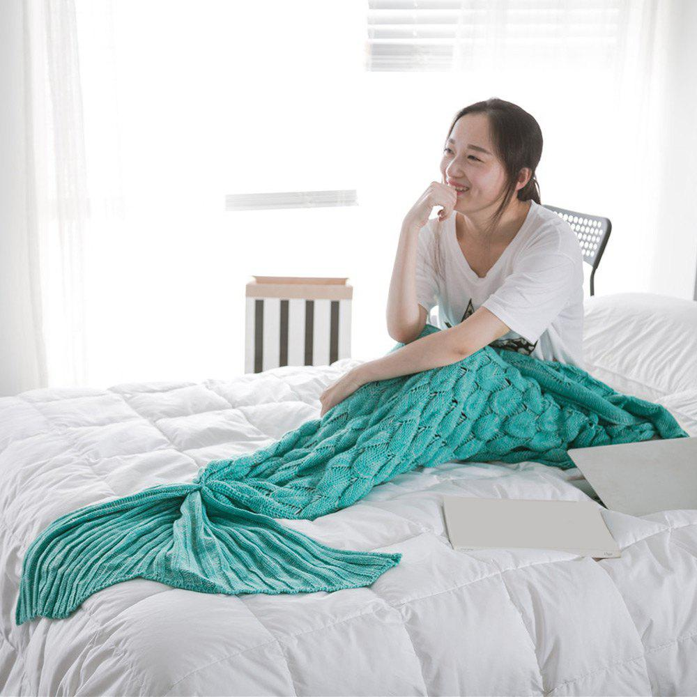 Affordable Fish Scale Yarn Knitted Sleeping Bag Mermaid Blanket