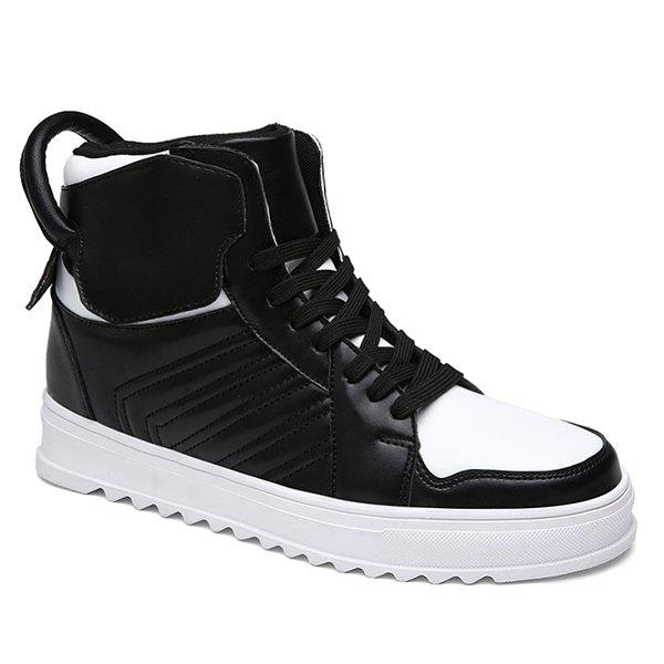 Trendy Lace Up High Top Leather Casual Shoes