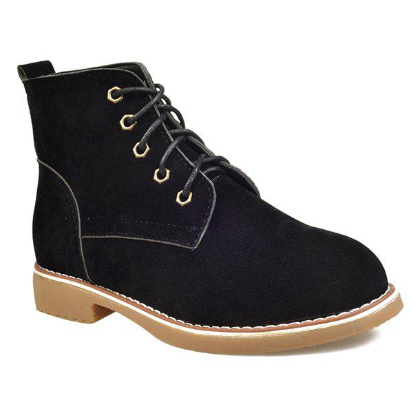 Cheap Suede Lace-Up Flat Heel Short Boots