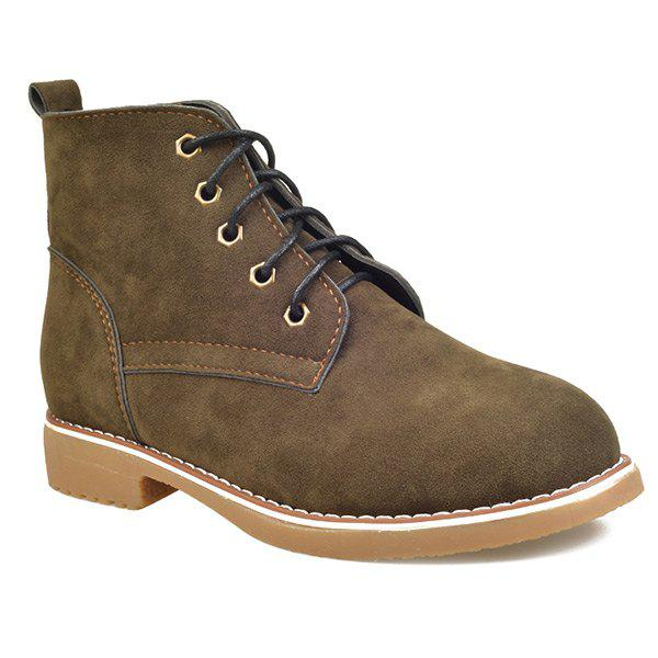 Hot Suede Lace-Up Flat Heel Short Boots