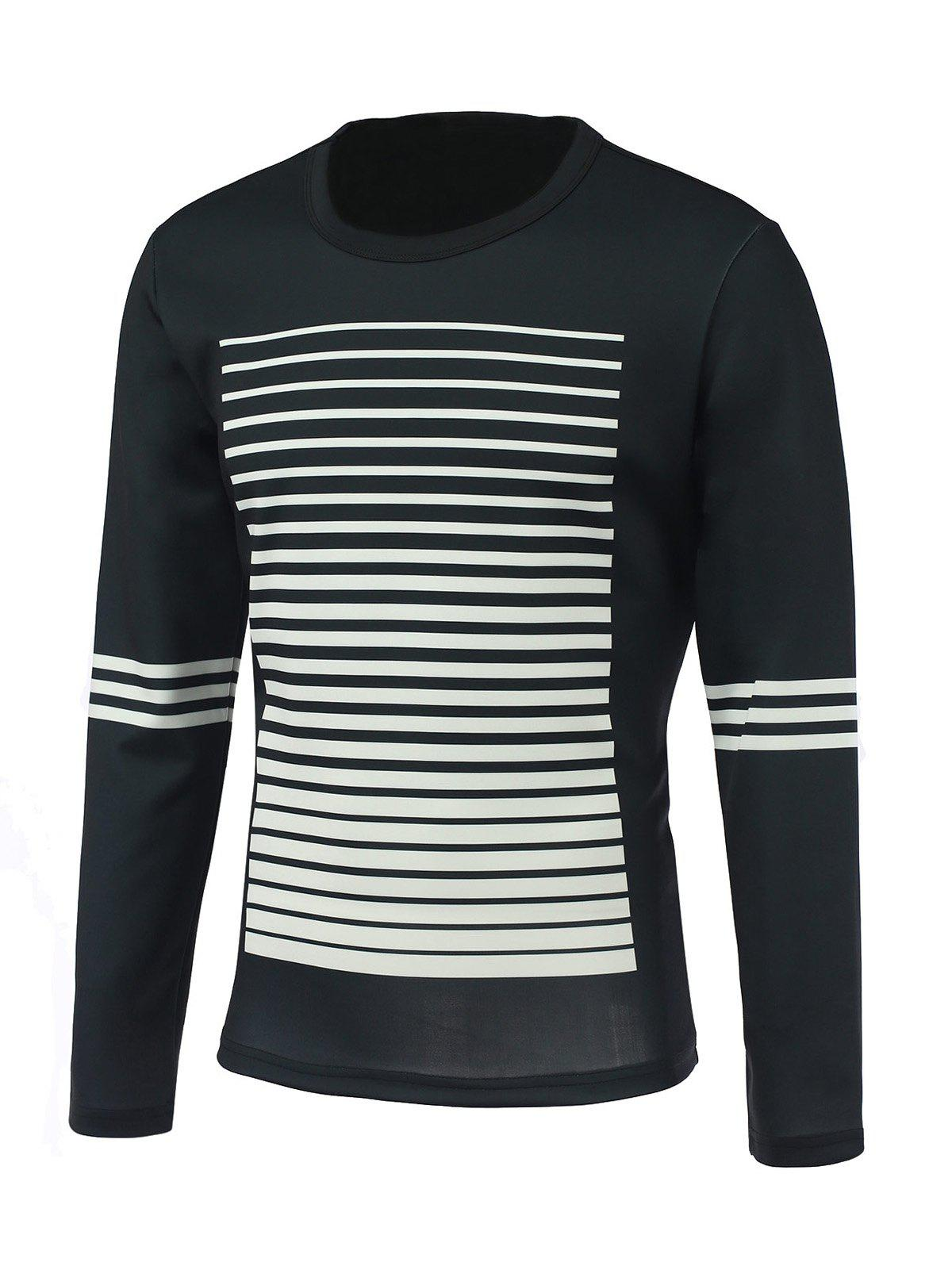 79c3fa5bfcd Gradient Stripe Print Round Neck Long Sleeve Sweatshirt