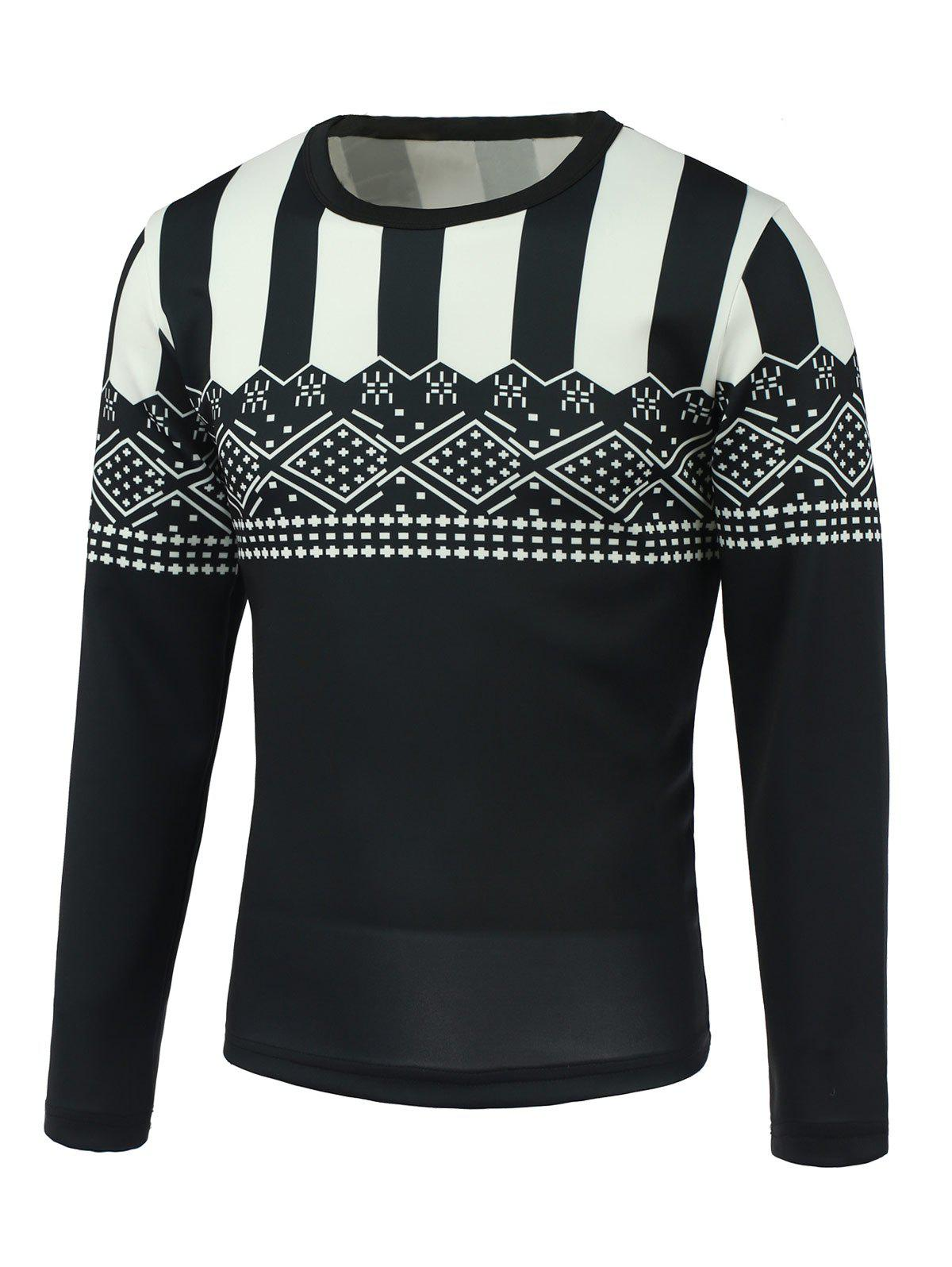 3e9a51a9f30 Geometric and Stripe Print Round Neck Long Sleeve Sweatshirt