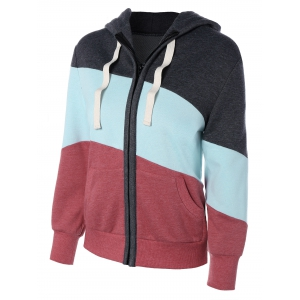 Long Sleeve Drawstring Patchwork Zip Up Hoodie - Colormix - S